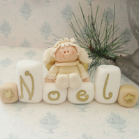 CHRISTMAS ANGEL DECORATION, Polymer Clay Angel on Peace 'Noel' Blocks & Stars, X