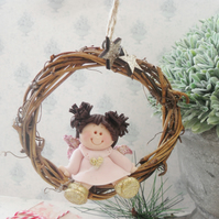 ANGEL HANGER, Handmade Christmas Decoration, Polymer Clay