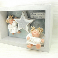 Angel Box Frame, Christmas Clay Decoration, Nursery, Girl's Room Plaque