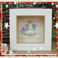 Personalised Unicorn, Polymer Clay, Children's Gift, Choice of Frame