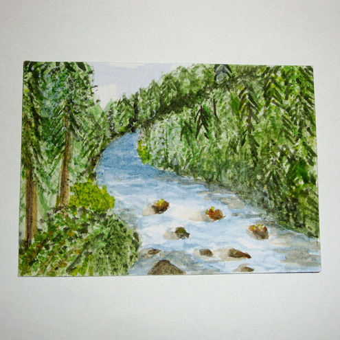 ACEO Oregon River Watercolour