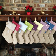 Rustic hessian & dotty Christmas Stockings