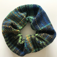 Hand Woven Chunky Blue and Charcoal Checked Scrunchie