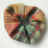 Hand Woven Chunky Pink Blue and Yellow Checked Scrunchie