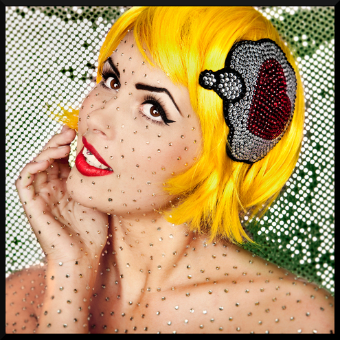 Think Love! rhinestone comic inspired fascinator