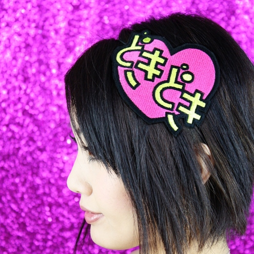 Valentine headband - doki doki heart beat - anime, pink and yellow