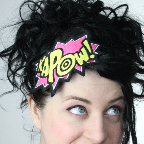 KAPOW! Comic style embroidered headband Pink and yellow