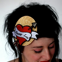 Personalized tattoo heart fascinator true love hat - Custom made with your choic