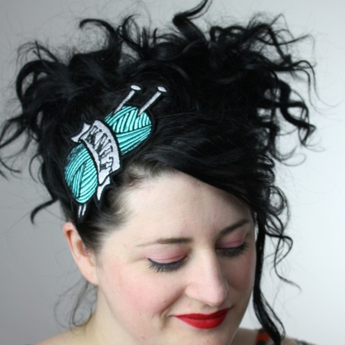 Tattoo inspired headband Knit in turquoise