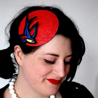 Retro Rockabilly Fascinator, Red, Sparrow, Sailor Jerry Fascinator