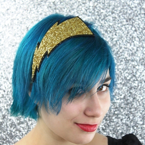 Glam lightning bolt in gold headband