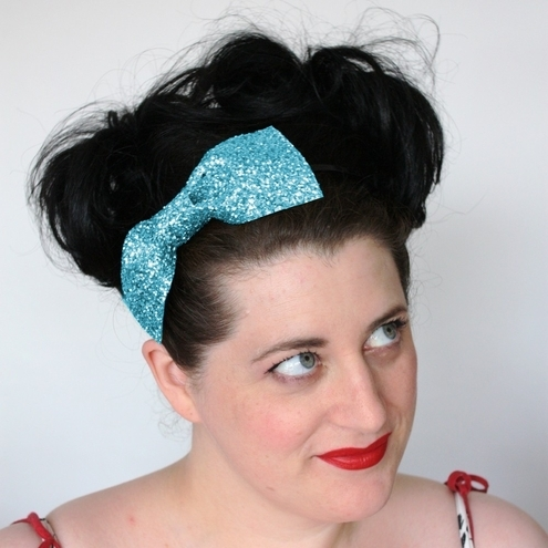 Pale blue glitter bow headband