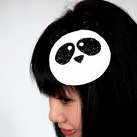 Panda fascinator with black glitter