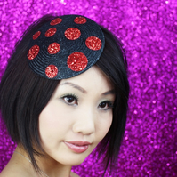Glitter Spots Fascinator, Black with Red Glitter Spots in Straw