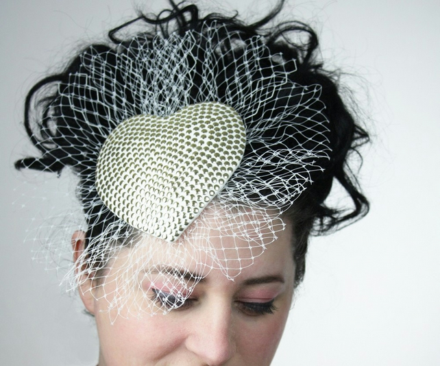 Alternative Bridal Fascinator Ivory Gold Studs with Veiling