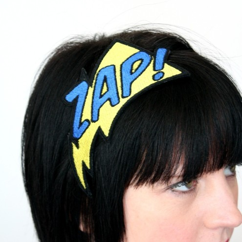 Comic zap embroidered headband yellow and blue