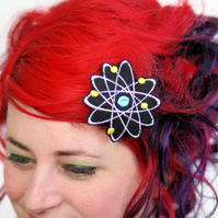 Atom Hair Clip, Black, White, Turquoise and Yellow