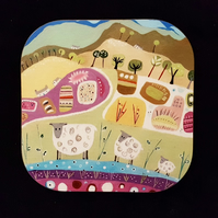 Coaster from original artwork with Sheep
