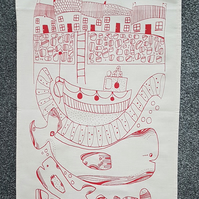Tea towel with Whales Red