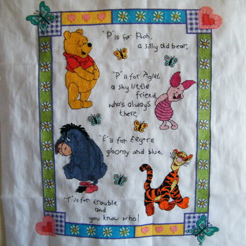 Winnie the Pooh completed Cross Stitch (Unframed)