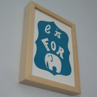 E is for Elephant original screenprinted poster - turquoise