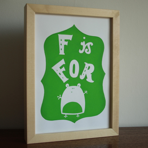 F is for Frog handscreenprinted poster - lime