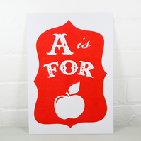 A is for Apple poster - red
