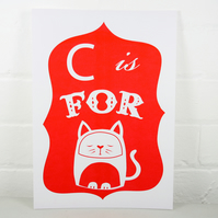 C is for Cat Risograph print - red