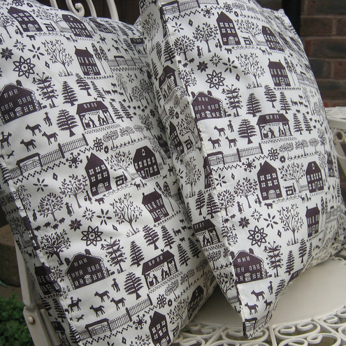 "Pair of Liberty's Lucy's Farm Chocolate 18"" Cushions"