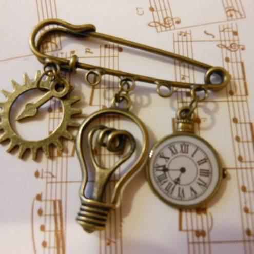 Kilt Pin Brooch inventors steam punk