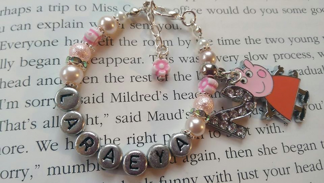 Personalised Peppa Pig bracelet.