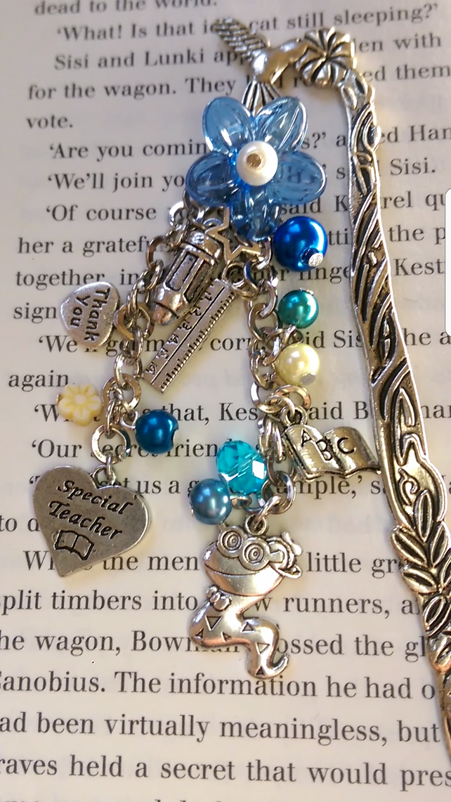 Teachers Theme Bookworm Bookmark.