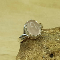 Rose Quartz adjustable ring. 925 sterling silver. January Birthstone