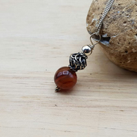 Minimalist Red Black Sardonyx pendant necklace. August birthstone