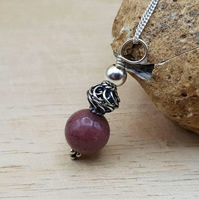 Minimalist sphere Rhodonite pendant necklace. Taurus jewellery