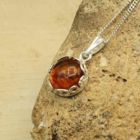 Floral Tiny amber pendant necklace. 925 sterling silver necklaces for women