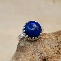 Lapis lazuli adjustable ring. September birthstone ring. 12mm