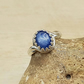 Oval Blue Kyanite adjustable ring. 925 sterling silver rings for women
