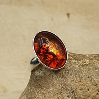 Amber adjustable Ring. 14x10mm Russian pressed amber