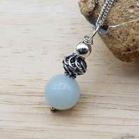 Minimalist Amazonite pendant. Virgo jewelry
