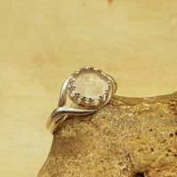Adjustable Clear quartz ring. 925 sterling silver. April Birthstone