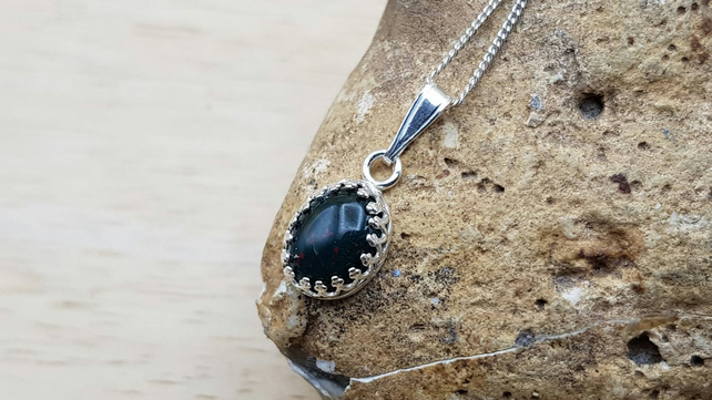 Tiny Bloodstone pendant. 925 sterling silver. March birthstone necklace.