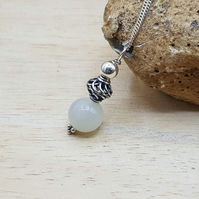 Minimalist White Moonstone Pendant necklace. June's Birthstone