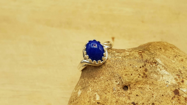 Lapis Lazuli Adjustable Ring. September birthstone. 10x8mm gemstone
