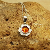 Tiny flower amber pendant necklace. 925 sterling silver