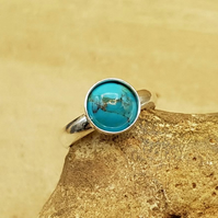 Minimalist Turquoise ring. Adjustable 925 sterling silver rings for women