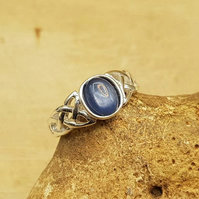 Celtic knot Kyanite ring. blue gemstone ring. UK SIZE N