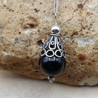 Small Black Jet cone pendant. Reiki jewelry uk.
