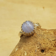 Adjustable Blue lace agate ring. 925 sterling silver