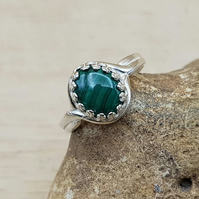 Green Malachite ring. Adjustable 925 sterling silver rings for women